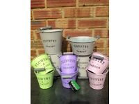 Country Garden Metal Plant Pots