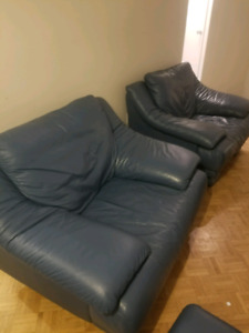 Blue leather couches