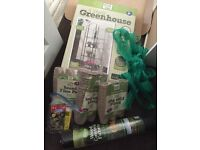 Garden greenhouse, pots and netting - all brand new