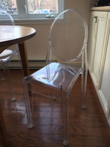 """Set of 4 acrylic """"ghost"""" chairs (and table for sale as well)"""