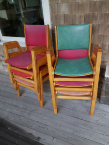 Set of 6 Vintage  Birch Office Chairs