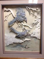 Paper tole shadow box blue jays picture