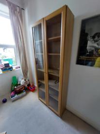 Billy bookcase with glass doors, oak veneer