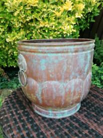 Handmade copper plant pot log holder antique vintage cross
