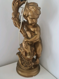 Antique very large table lamp cherub or putti