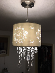 Silk shade and crystal ceiling light