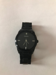 Fossil - Men's Black Stainless Steel Black Analog Dial Watch