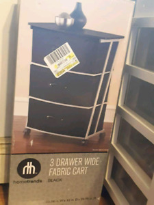 3 drawer wide Fabric cart