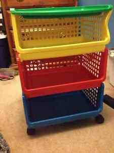 Red, Yellow, n Blue Rubbermaid Storage shelf on rollers $20
