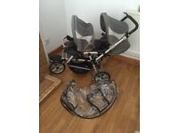 Jane power double pushchair with rain cover