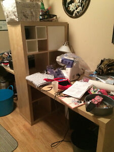 Ikea Malm lack shelf with 2 desks