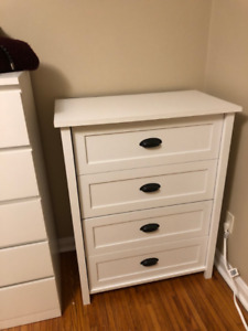 WHITE DRESSER/CHEST OF DRAWERS 4 DRAWERS MODERN - REDUCED!