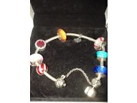 Beautiful Silver Genuine Pandora Charm Bracelet with 8 Exquisite Charms & Safety Chain