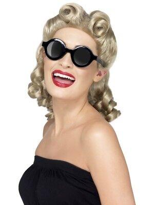 40er Jahre Charleston Sonnenbrille rund Rundbrille schwarz 40ies Shades