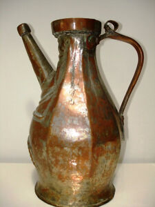 early Nomadic PERSIAN tinned copper EWER VESSEL PITCHER Ottoman