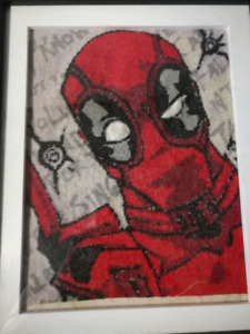 Deadpool Cross-stitch with frame (handmade)