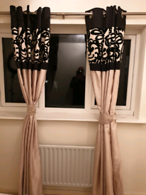 Pair of Champagne Gold & Beige Velvet Pattern Pleated Curtains TieBack