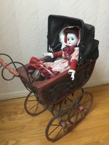 Antique Doll Carriage with Porcelain  Doll