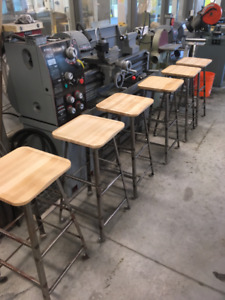 Modern Handcrafted Maple Bar Stools on Vintage Steel Frames