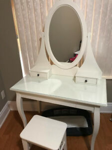 IKEA HEMNES Dressing Table With Mirror and Chair.