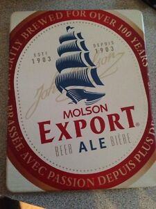 Molson Export beer Tin opener and coaster set