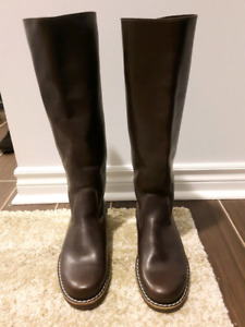 Roots Brown Leather Equestrian Knee High Boots