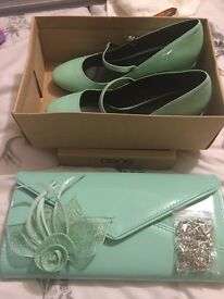 Mint Green Shoes, Clutch and Fascinator