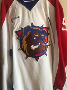 Hamilton Bulldogs game worn auto jersey