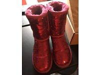 Women's Pink Glitter UGG Boots size 6 with box