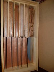 Set of 6 Large Wood Handle Steak Knives
