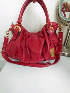 Badgley Mischka Red Leather Crossbody Bag