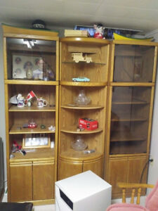 Oak Cabinet with Lights and Glass Doors