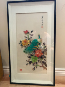 Chinese 3D art in glass frame