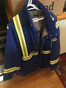High vis fire resistant jacket, coveralls, boots