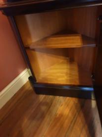 Dark brown solid wood corner unit