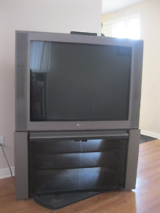 Large TV and TV stand