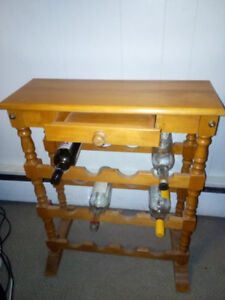 Wooden Wine rack/ table with drawer.