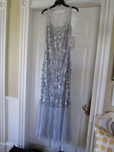 Beautiful Prom or Ball Gown, never worn, still with tags, Silver