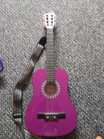 Childspurple guitar with shoulder strap & case