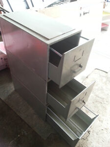 3 stackable metal filing cabinets