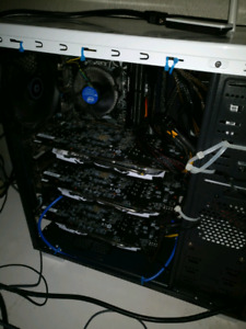 Cryptocurrency mining rig.