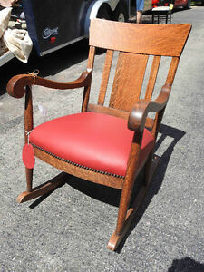 antique quarter sawn oak rocker with new red leather seat....