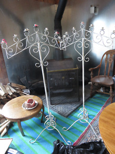 PAIR SOLID METAL TALL CANDLE HOLDERS EXCELLENT CONDITION