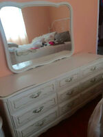Antique White Desk, Dresser and Night Table