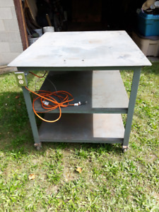 Garage Shop Portable Steel Table Work Bench with Casters OFFERS