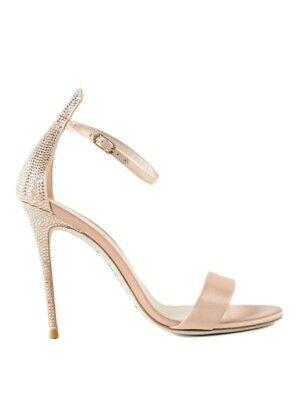RENE CAOVILLA Celebrita Nude Satin Sandals Size 39 - 100% Authentic