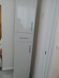 High Gloss White Tall Bathroom Storage