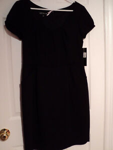 JONES NEW YORK Pleated Round Neck Lined Dress NWT BLACK 12P