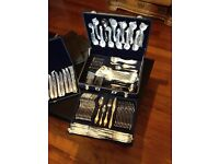 96 piece suissine gold plated cutlery set.