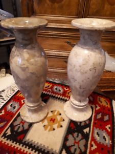 Two 12 inch tall alabaster vases only $25 each